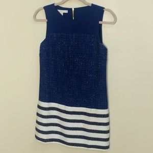 Boston Proper navy striped tweed shift dress